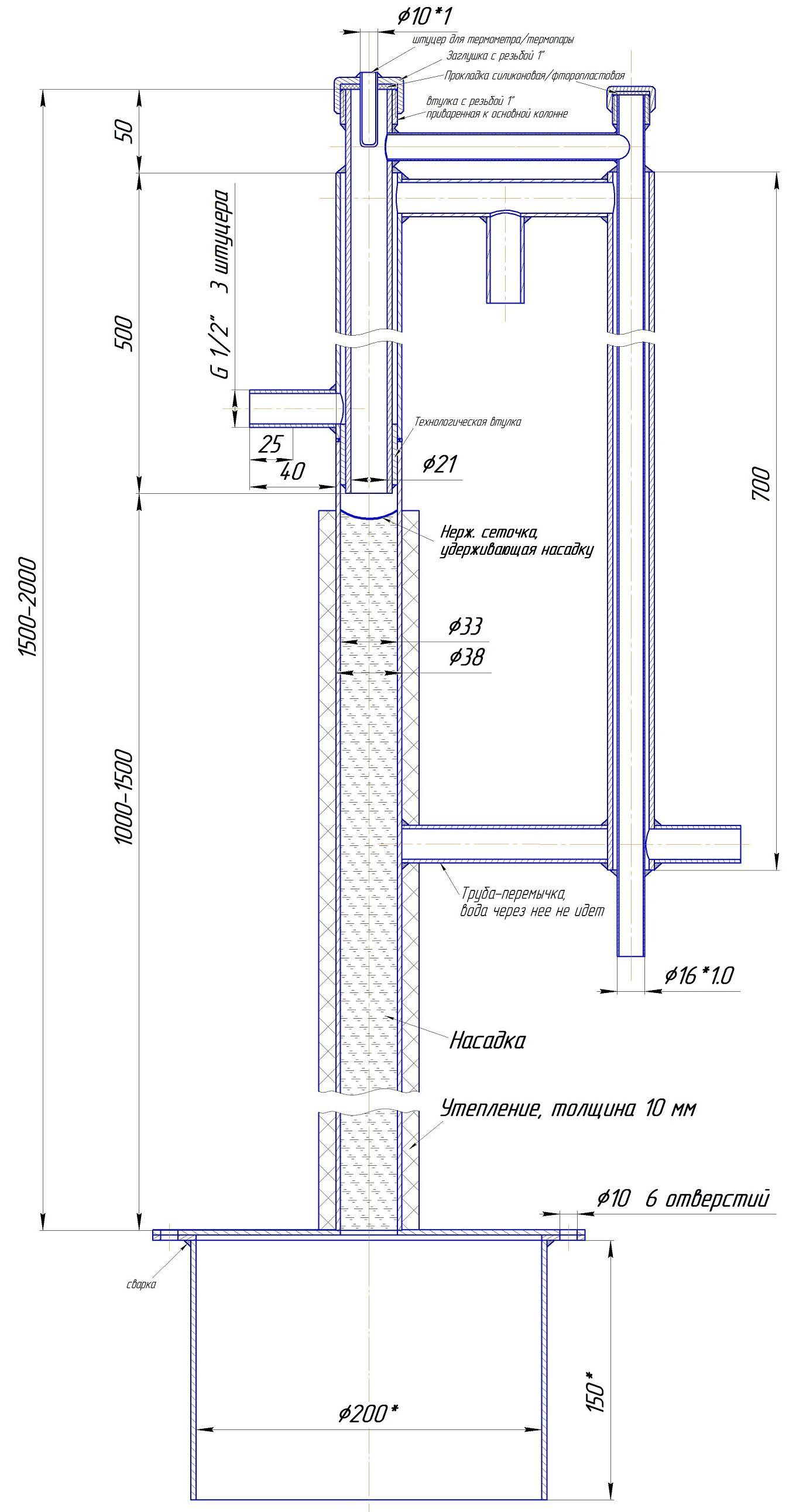 Конструкция: укрепляющая колонна для самогонного аппарата часть 1