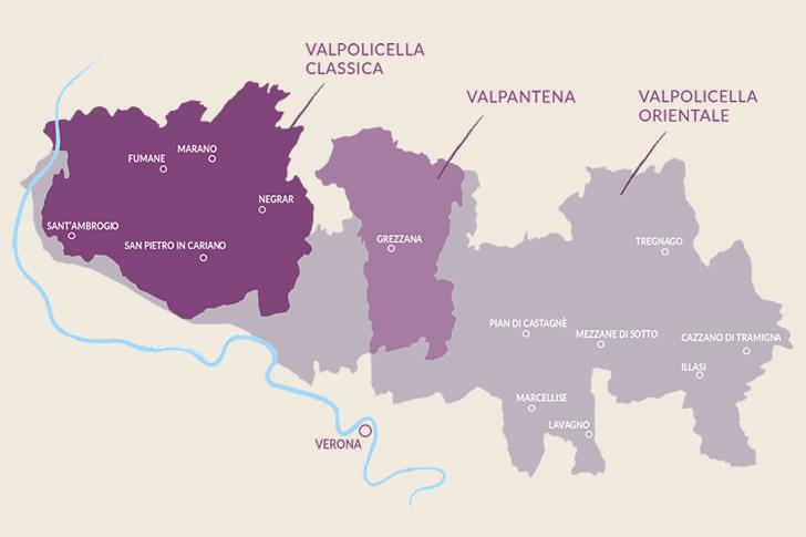 Valpolicella карта региона виноделия